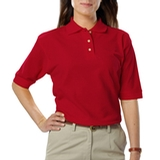 Women's Short Sleeve Teflon Treated Pique Polos Red Thumbnail