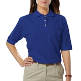 Women's Short Sleeve Teflon Treated Pique Polos Royal Thumbnail