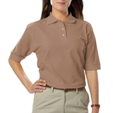 Women's Short Sleeve Teflon Treated Pique Polos Tan Thumbnail