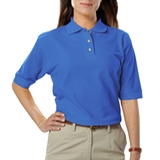 Women's Short Sleeve Teflon Treated Pique Polos Turquoise Thumbnail