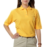Women's Short Sleeve Teflon Treated Pique Polos Yellow Thumbnail