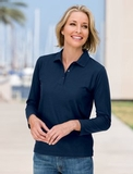 Women's Silk Touch Long Sleeve Polo Shirt Thumbnail