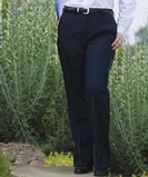 Women's Solid Flat Front Suit Pant Navy Thumbnail