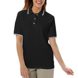 Women's Tipped Collar Cuff Pique Polo Shirt Black with White Thumbnail