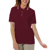 Women's Tipped Collar Cuff Pique Polo Shirt Burgundy with White Thumbnail