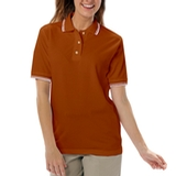 Women's Tipped Collar Cuff Pique Polo Shirt Burnt Orange with Ivory Thumbnail