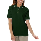 Women's Tipped Collar Cuff Pique Polo Shirt Hunter with Ivory Thumbnail