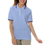 Women's Tipped Collar Cuff Pique Polo Shirt Light Blue with Navy Thumbnail