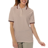 Women's Tipped Collar Cuff Pique Polo Shirt Natural with Black Thumbnail
