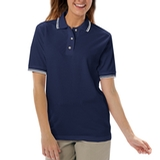 Women's Tipped Collar Cuff Pique Polo Shirt Navy with Ivory Thumbnail