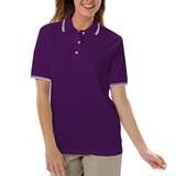 Women's Tipped Collar Cuff Pique Polo Shirt Purple with Ivory Thumbnail
