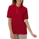 Women's Tipped Collar Cuff Pique Polo Shirt Red with Black Thumbnail