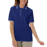 Women's Tipped Collar Cuff Pique Polo Shirt Royal with White Thumbnail