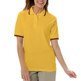 Women's Tipped Collar Cuff Pique Polo Shirt Yellow with Black Thumbnail