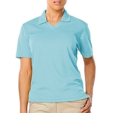 Women's V-neck Pique Polo Shirt Aqua Thumbnail