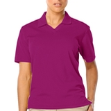 Women's V-neck Pique Polo Shirt Berry Thumbnail