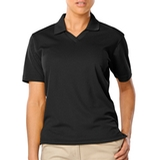 Women's V-neck Pique Polo Shirt Black Thumbnail