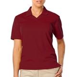 Women's V-neck Pique Polo Shirt Burgundy Thumbnail
