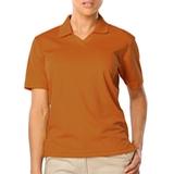 Women's V-neck Pique Polo Shirt Burnt Orange Thumbnail