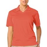 Women's V-neck Pique Polo Shirt Coral Thumbnail