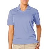 Women's V-neck Pique Polo Shirt Light Blue Thumbnail
