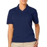 Women's V-neck Pique Polo Shirt Navy Thumbnail