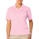 Women's V-neck Pique Polo Shirt Pink Thumbnail
