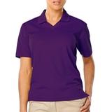 Women's V-neck Pique Polo Shirt Purple Thumbnail