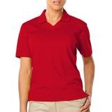 Women's V-neck Pique Polo Shirt Red Thumbnail