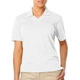 Women's V-neck Pique Polo Shirt White Thumbnail