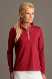 Greg Norman Women's Play Dry 1/4-zip Active Jersey Knit Pullover Cardinal Thumbnail