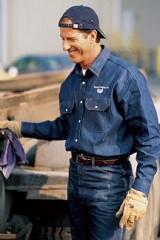 Utility Denim Western Style Work Shirt Main Image