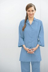 Women's Fitted Button Front Adjustable 3/4 Sleeve Smock Main Image