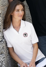 Women's Johnny Collar Jersey Polo Shirt With Pencil Stripe Main Image