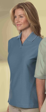 Women's Mini Ottoman Polo Shirt With Jacquard Johnny Collar And Cuffs Main Image