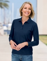 Women's Silk Touch Long Sleeve Polo Shirt Main Image