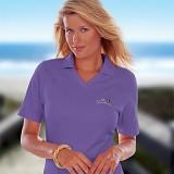 Women's V-neck Pique Polo Shirt Main Image